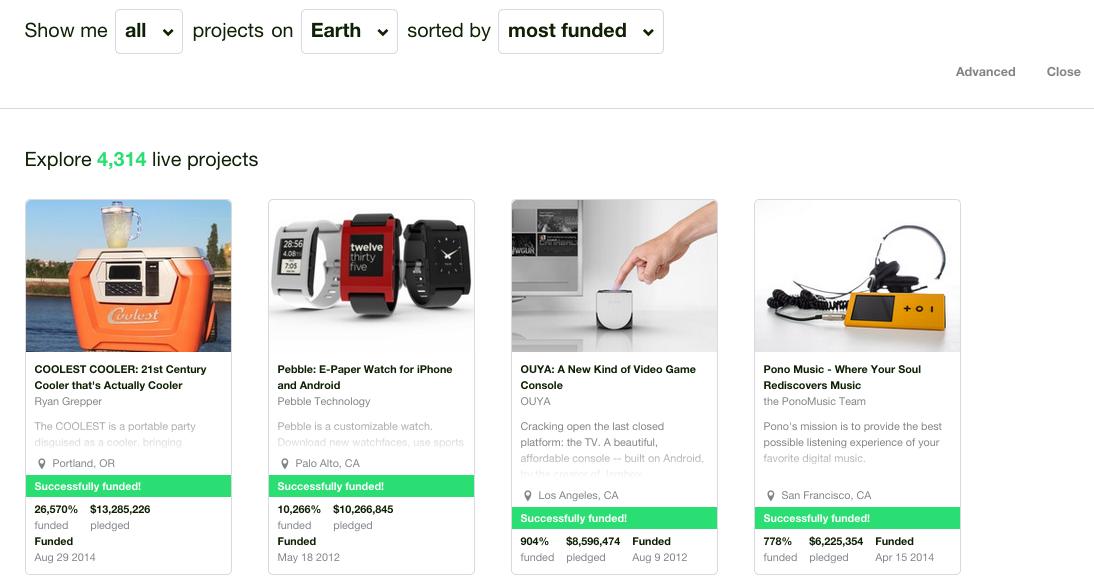 kickstarter most funded