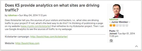 kickstarter forum quote